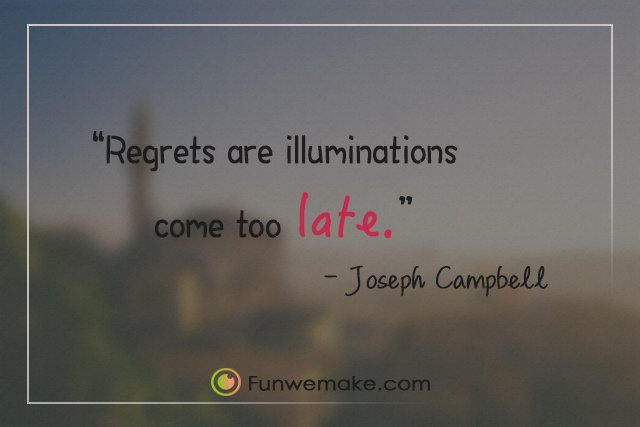 Joseph Campbell Quotes Regrets are illuminations come too late.
