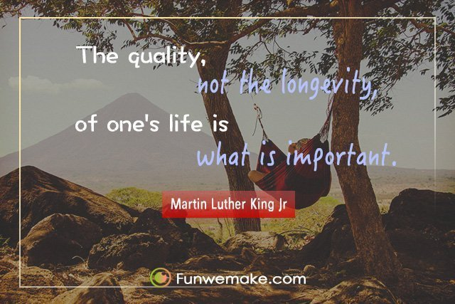 Martin Luther King Jr Quotes The quality, not the longevity, of one's life is what is important.