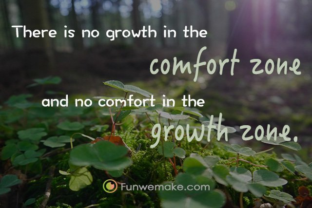Quotes There is no growth in the comfort zone and no comfort in the growth zone.