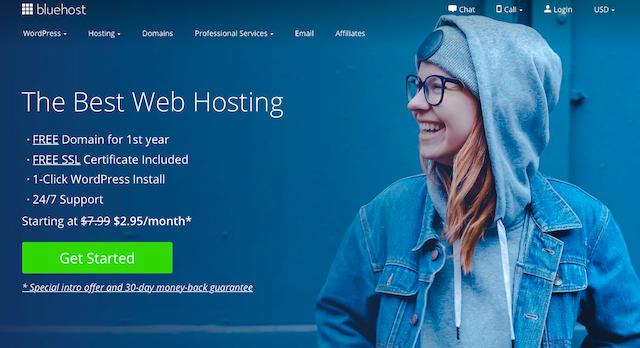 Rent hosting through Bluehost