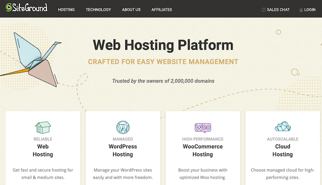 Rent hosting through Siteground