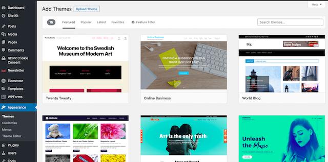 WordPress add themes page