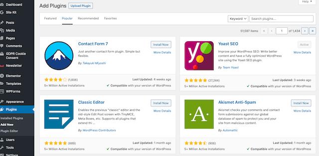 Wordpress add new plugins page