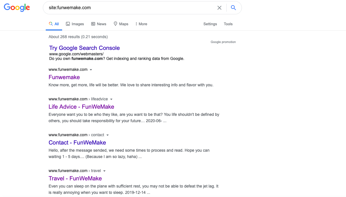 Search your all website results at google engine