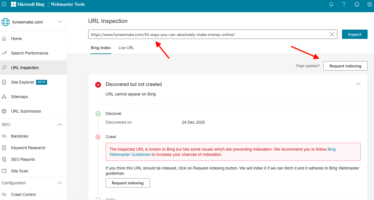 You can manual index url through webmaster tools