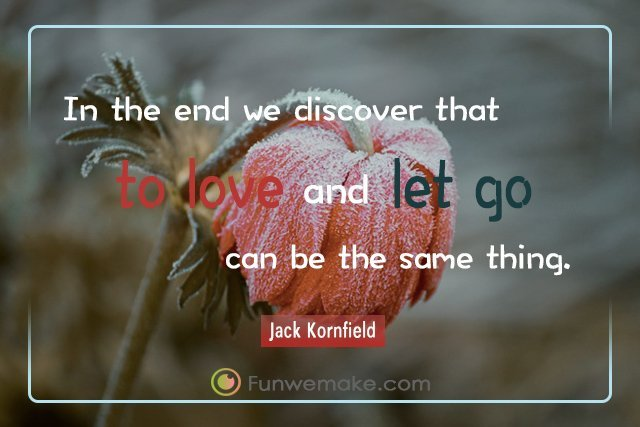 Jack Kornfield Quotes In the end we discover that to love and let go can be the same thing
